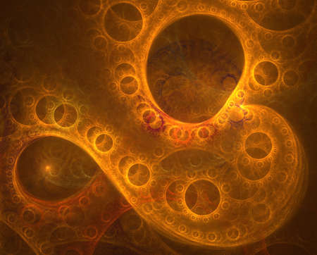 Golden waves. Abstract glowing futuristic background with lighting effect for creative design. Shiny and bright color image for poster, cover booklet, flyer. Fractal art 免版税图像