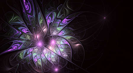 Fractal fantasy and artistic flower. Beautiful shiny futuristic background. Beautiful shin bloom. An abstract computer generated modern fractal design on white background. Digital art design element.
