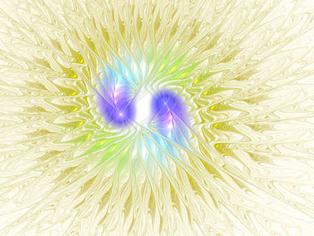 Modern high resolution flower background with large exotic looking flower. Abstract fractal pastel flower on a white background with wave, curves and shapes. Futuristic magic flower decoration.