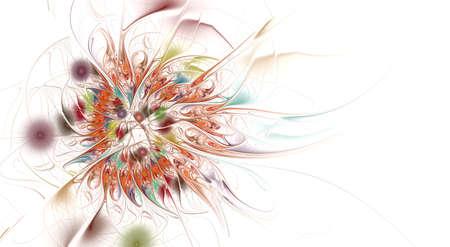 Fractal illustration of bright background with floral ornament. Creative element for design. Fractal flower rendered by math algorithm. Digital artwork for creative graphic design Zdjęcie Seryjne