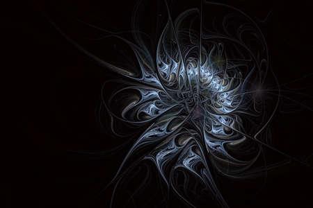 Abstract exotic flower with textured petals. Elegant fractal flower on a black background. Computer generated fractal design. Digital artwork for background, desktop or for creative design