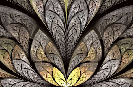Multicolored floral pattern in stained-glass window style. Symmetrical fractal. Multicolor beautiful Tree foliage. Computer generated graphics. Grey and gold palette. Artwork for creative design