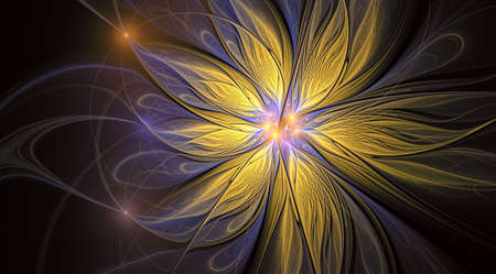 Fantasy artistic flower with lighting effect. Beautiful shin. Futuristic bloom. An abstract computer generated modern fractal design on white background. Digital art design element. 免版税图像