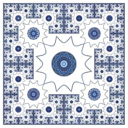 Vintage Ornamental fractal Pattern. Abstract square elegant pattern, silk scarf design, fashion textile ornament