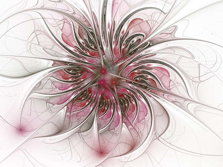 Fantasy artistic flower with lighting effect. Beautiful shin. Futuristic bloom. An abstract computer generated modern fractal design on white background. Digital art design element. Imagens
