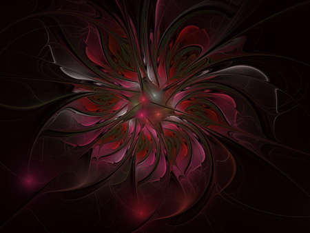 Fractal fantasy and artistic flower. Beautiful shiny futuristic background. Beautiful shin bloom. An abstract computer generated modern fractal design on white background. Digital art design element. Фото со стока