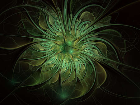 Fabulous fractal pattern in blue. Digital fractal art. Smooth blue Fiery blossom. Bright abstract blue background for design, site design - raster illustration. Ornate petals of unusual flower.