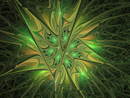 Fabulous floral fractal pattern in green. Digital fractal art. Smooth green Fiery blossom. Bright abstract background for design, site design - raster illustration. Ornate petals of unusual flower. For cards, covers, posters Stock Illustration - 127178753