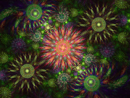 Beautiful fractal floral art. Computer generated graphics. Abstract floral fractal background for art projects. Colourful Julia Fractal Art. Stock Photo