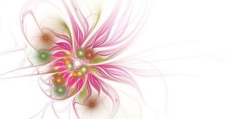 Fractal illustration of bright background with floral ornament. Creative element for design. Fractal flower rendered by math algorithm. Digital artwork for creative graphic design Reklamní fotografie