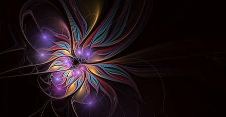 Fractal illustration of bright background with floral ornament. Creative element for design. Fractal flower rendered by math algorithm. Digital artwork for creative graphic design Stock Illustration - 127178984