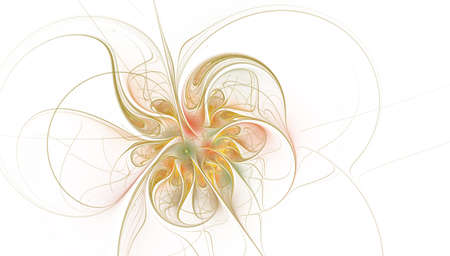 Fractal fantasy and artistic flower. Beautiful shiny futuristic background. Beautiful shin bloom. An abstract computer generated modern fractal design on white background. Digital art design element. Stock Photo - 127179012