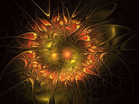 Abstract flower background Illustration. Orange Fantastic pattern texture. Digital fractal art. Smooth gold Fiery blossom.
