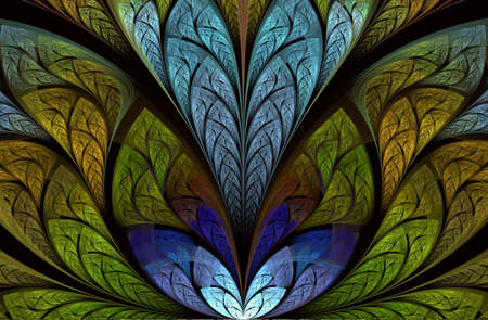 Magnificent pattern of the leaves. Tree foliage. For invitations, notebook covers, phone cases, cards. Dark fractal, digital artwork for creative graphic design. Beautiful artistic abstract background Stock Photo - 127179018