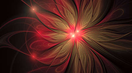 Fractal fantasy and artistic flower. Beautiful shiny futuristic background. Beautiful shin bloom. An abstract computer generated modern fractal design on white background. Digital art design element. Foto de archivo