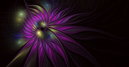 Fantasy artistic flower with lighting effect. Beautiful shin. Futuristic bloom. An abstract computer generated modern fractal design on white background. Digital art design element. Stock Photo
