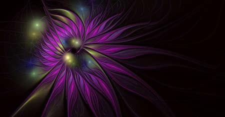 Fantasy artistic flower with lighting effect. Beautiful shin. Futuristic bloom. An abstract computer generated modern fractal design on white background. Digital art design element. Reklamní fotografie