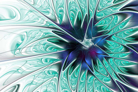 Fabulous fractal pattern in blue. Digital fractal art. Smooth blue Fiery blossom. Bright abstract blue background for design, site design - raster illustration. Ornate petals of unusual flower. For cards, covers, posters