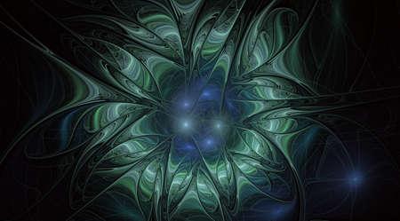Fantasiekünstlerische Blume mit Lichteffekt. Schönes Schienbein. Futuristische Blüte. Ein abstraktes computererzeugtes modernes Fraktaldesign auf weißem Hintergrund. Designelement für digitale Kunst. Standard-Bild