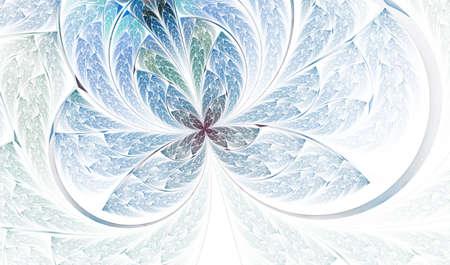 Beautiful diagonal fractal flower. Multicolored symmetrical Butterfly in stained glass style. Element of decor. Artwork for creative design, art and entertainment. Computer generated graphics. Stock Photo
