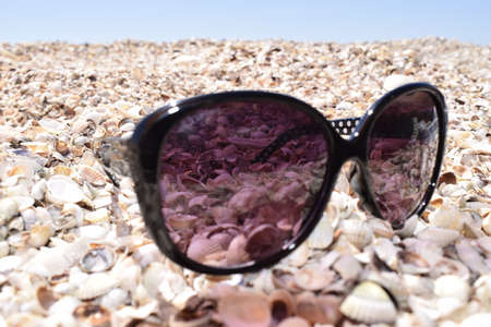 The sunglasses lying on the seashore against the sea. Close up view sunglasses on a sand beach with shells as an elements. Summer vacation concept, accessories for summer beach travel at holidays.