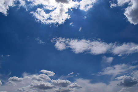 Beautiful blue sky with clouds background. Sky with clouds weather nature clouds and blue sky with sun. Aerial sky and clouds background. Stock Photo - 129147097