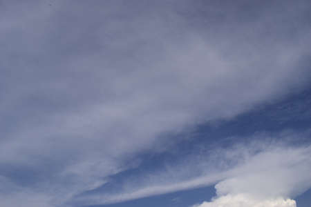 Fantastic soft white clouds against blue sky. Blue sky with cloud. Clearing day and Good weather in the morning. Stock Photo
