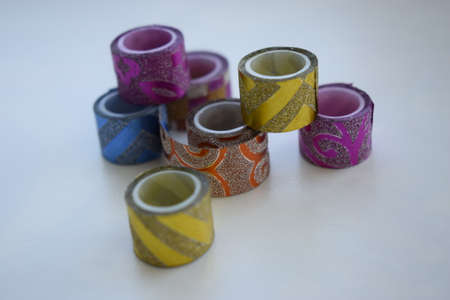 Glittering tape, ribbon with shining. Christmas lights, Christmas or holiday gifts making or giving concept.