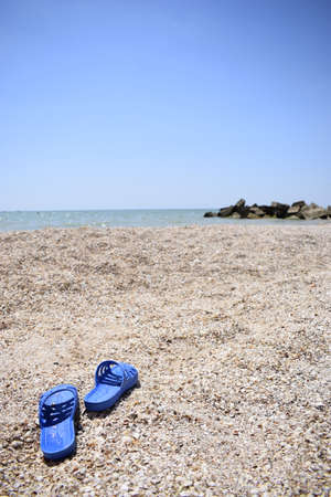Summer slippers on the beach near the water. Sea shells on a sunny day. Tropical beach vacation and travel concept Zdjęcie Seryjne - 129135847