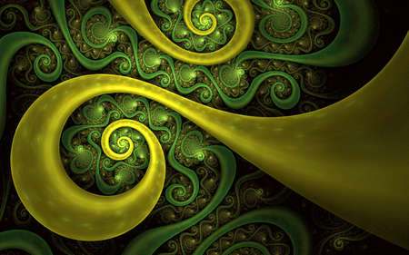 Soft abstract fractal for 3D illustration or cover. Colorful Fractal Spiral. Modern abstract spiraling fractal with decorative elements around it.