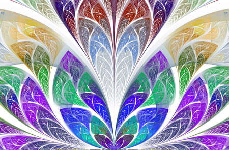 Floral pattern in stained-glass window style. Symmetrical and magic floral fractal pattern. Beautiful flower in multicolor palette.