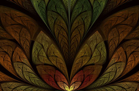 Magnificent pattern of the leaves. Tree foliage. For invitations, notebook covers, phone cases, cards. Dark fractal in broun, digital artwork for creative graphic design. Beautiful artistic abstract
