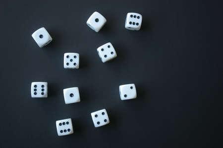 multiple: Multiple dice on black background