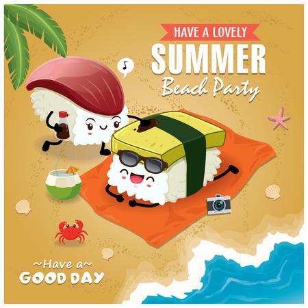 Vintage Summer poster with Tamago, Hokkigai sushi character, palm tree.
