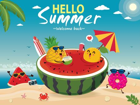 Vintage summer poster design with vector watermelon, pineapple, donut, lemon & surfboard characters. Vettoriali