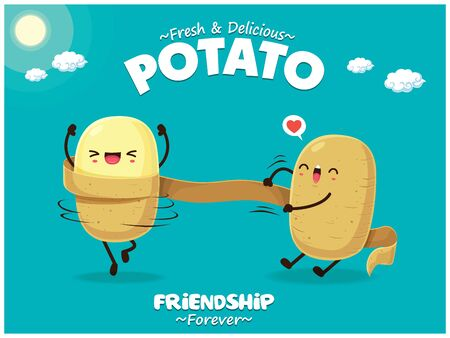 Poster estivo vintage con carattere di patate.
