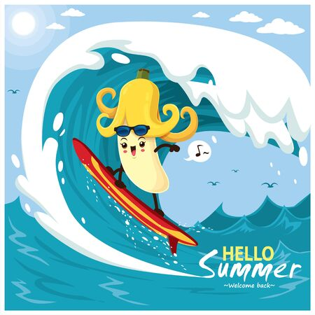 Vintage summer poster design with vector banana & surfboard characters.