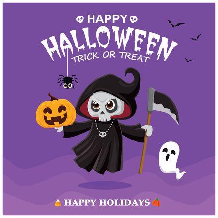 Vintage Halloween poster design with vector reaper, pumpkin, ghost character.