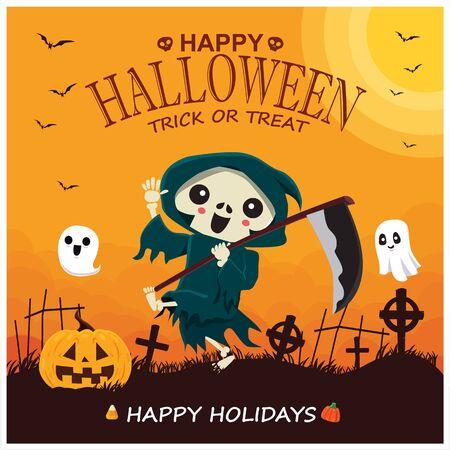 Vintage Halloween poster design with vector reaper, pumpkin, ghost character. 写真素材 - 130710541
