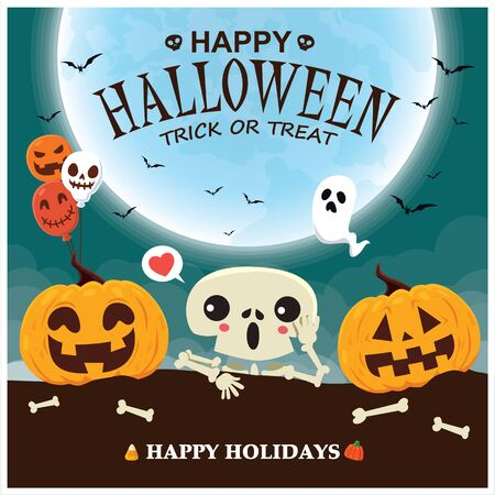 Vintage Halloween poster design with vector skeleton, ghost, pumpkin character.  イラスト・ベクター素材