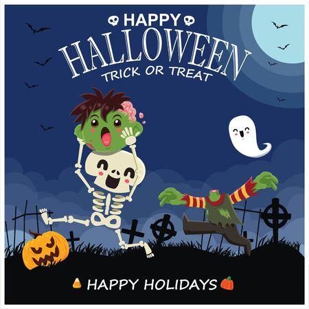 Vintage Halloween poster design with vector skeleteon, zombie, ghost, pumpkin character. 写真素材 - 130710568