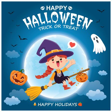 Vintage Halloween poster design with vector witch, pumpkin, ghost, spider character.  イラスト・ベクター素材