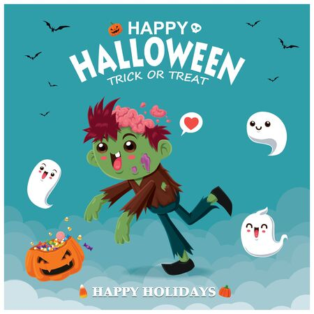 Vintage Halloween poster design with vector zombie & ghost character. Illustration