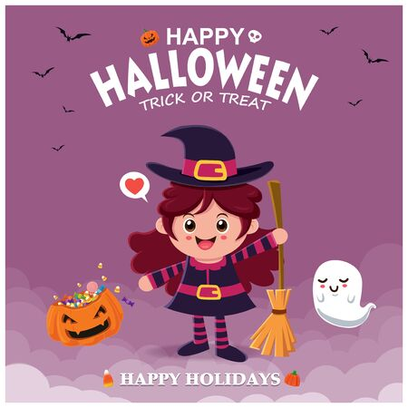 Vintage Halloween poster design with vector witch & ghost character.  イラスト・ベクター素材