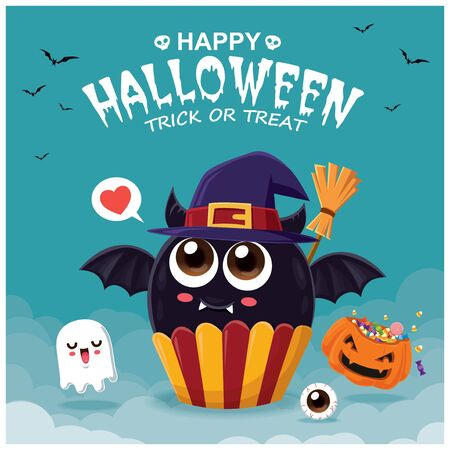 Vintage Halloween poster design with vector bat cupcake & ghost character.