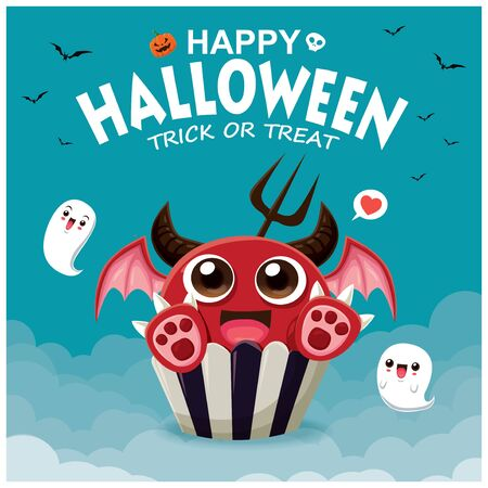 Vintage Halloween poster design with vector demon cupcake& ghost character.
