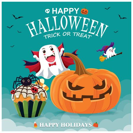 Vintage Halloween poster design with vector pumpkin, spider cupcake & ghost character.