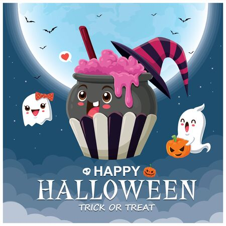 Vintage Halloween poster design with vector cupcake potion pot & ghost character.  イラスト・ベクター素材