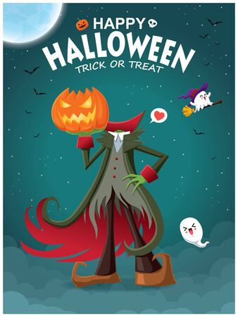 Vintage Halloween poster design with demon & ghost character.  イラスト・ベクター素材