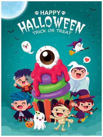 Vintage Halloween poster design with witch, vampire, mummy, cupcake & ghost character.  イラスト・ベクター素材